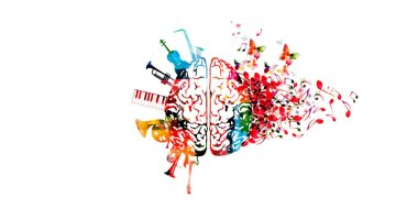 Music colorful background with brain, music instruments and notes