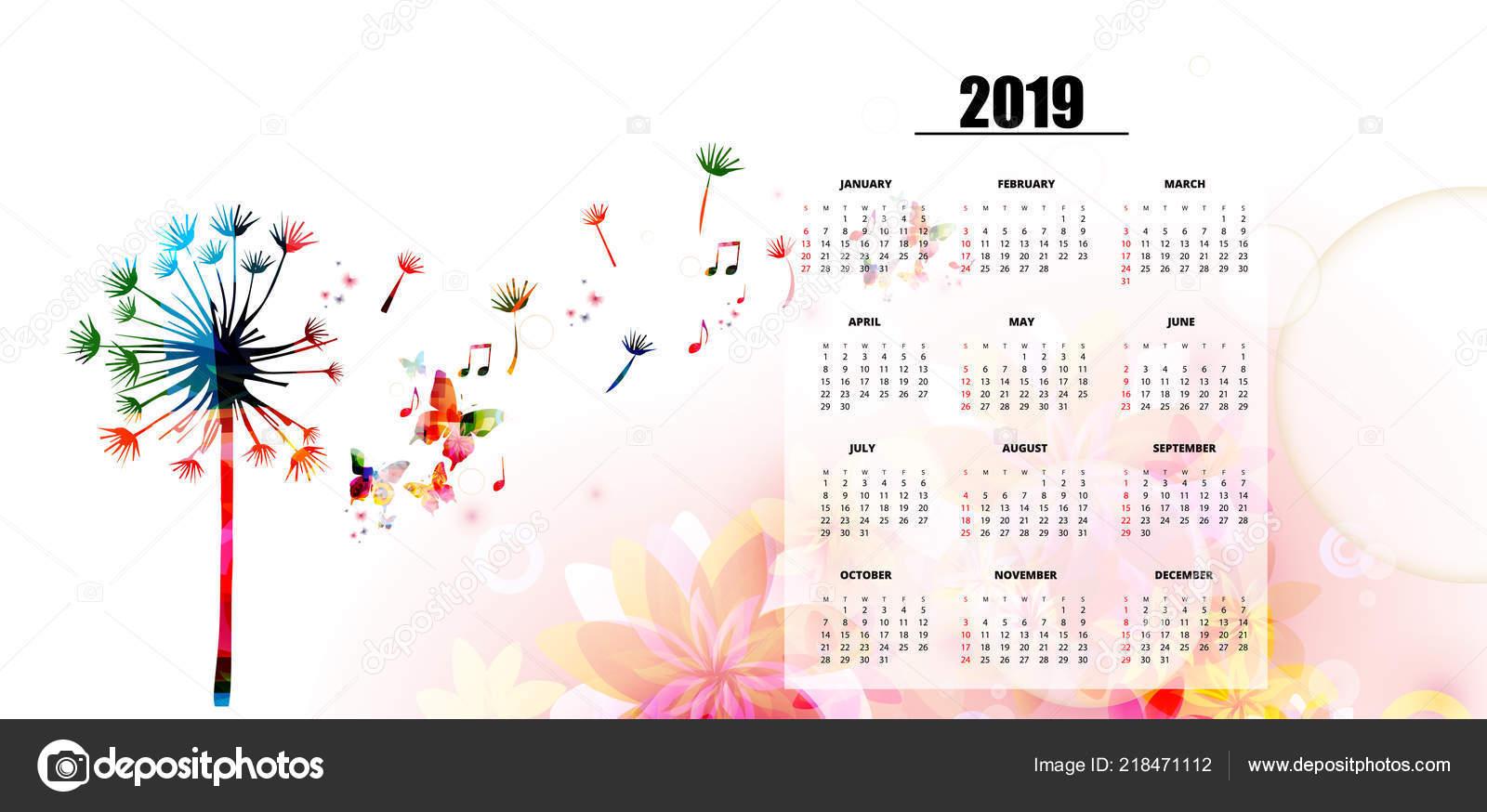 Calendario Con Note.Poster Calendario Anno 2019 Tema Musicale Con Tarassaco
