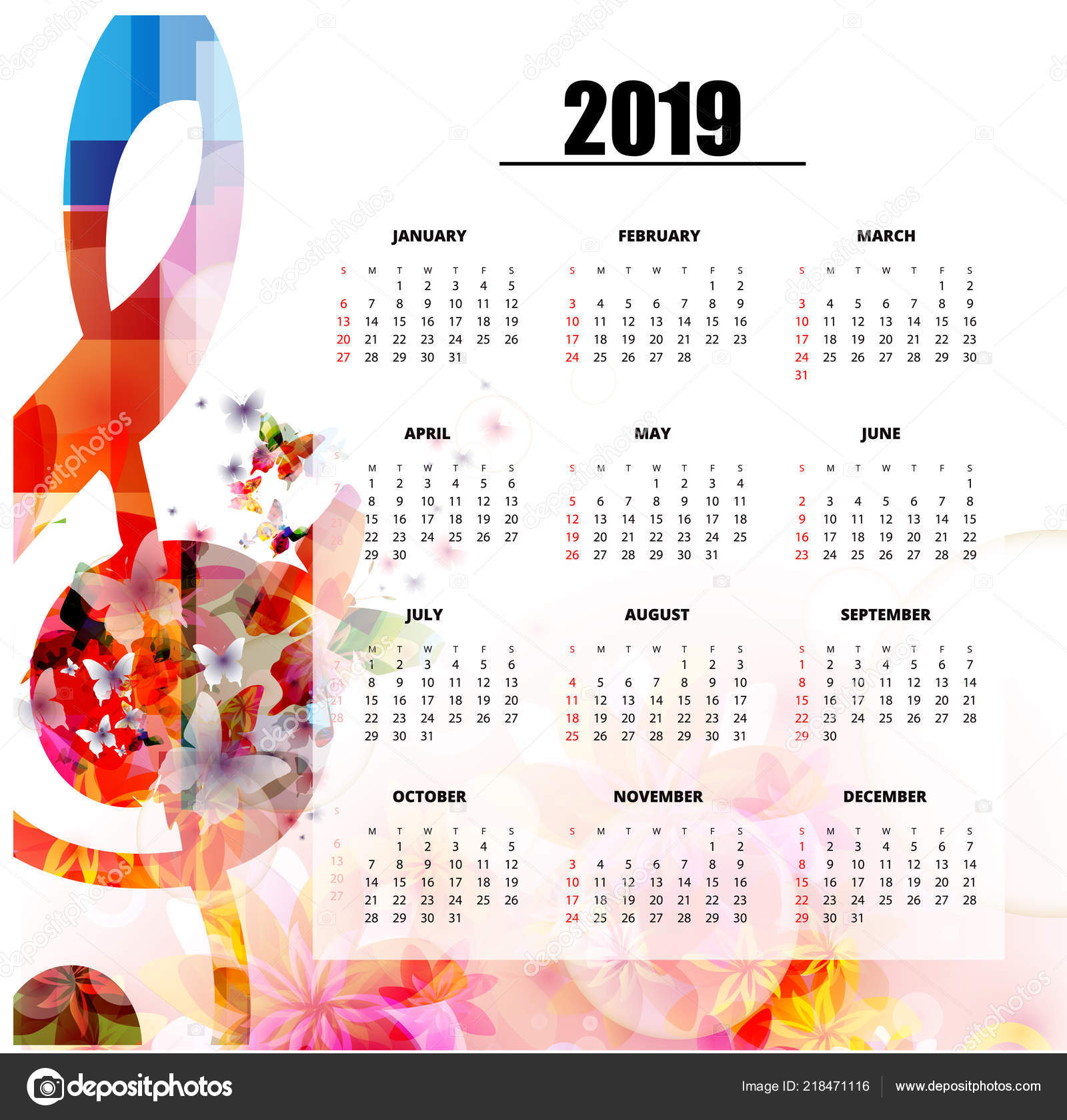 Music Calendar 2019 Musical Themed 2019 Year Calendar Poster Colorful Music Notes