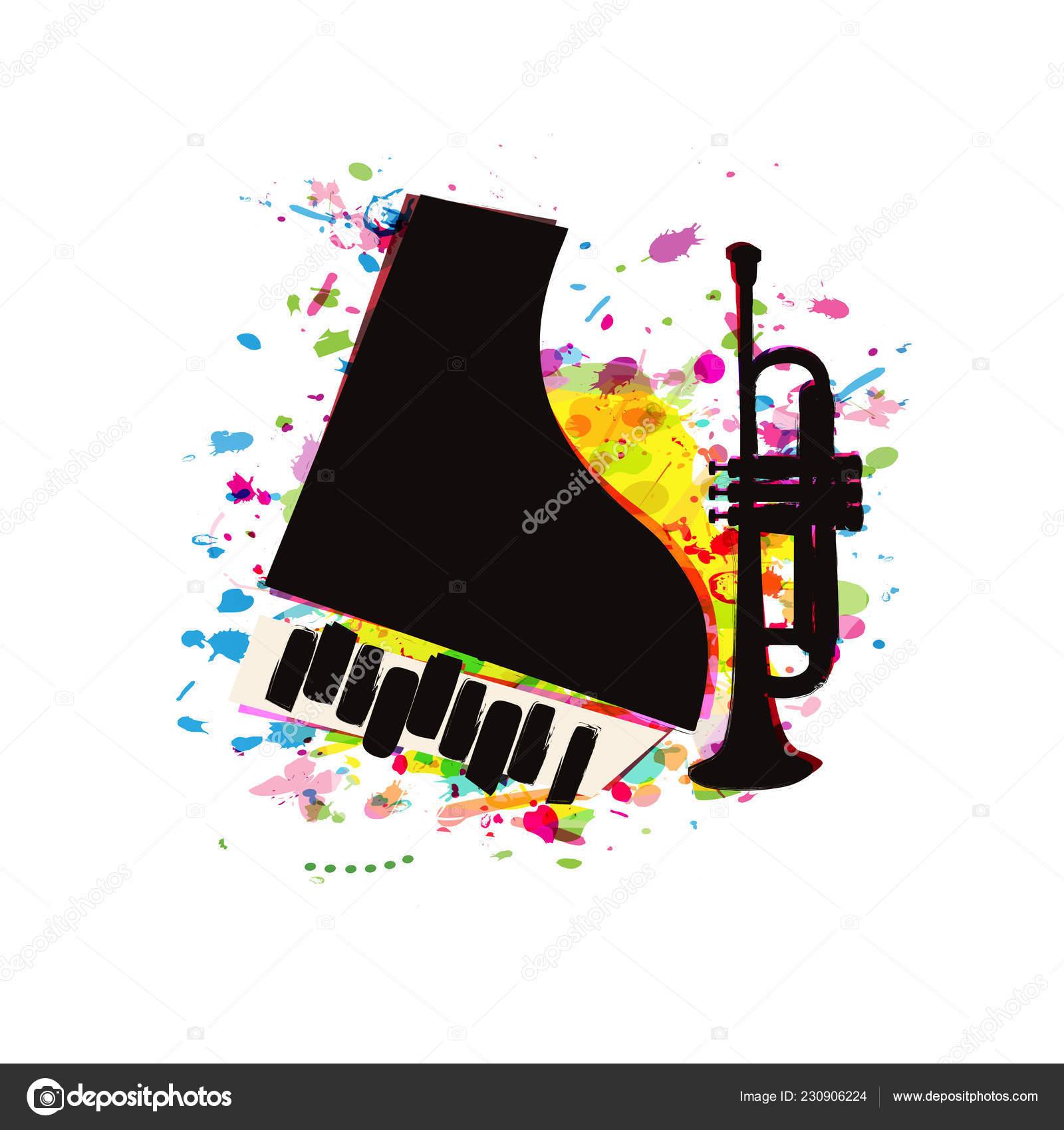 Music Festival Poster Piano Trumpet Flat Vector Illustration Design