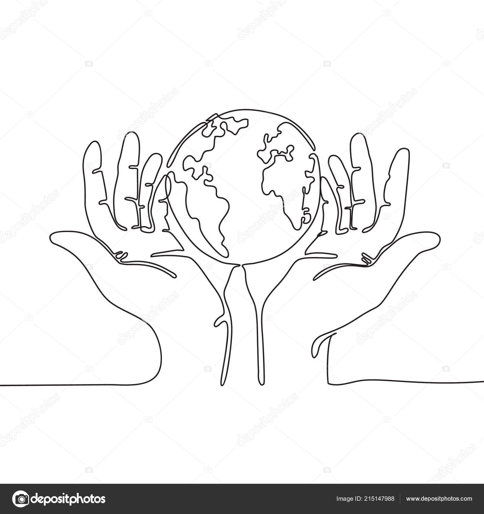 One Line Drawing Hands Holding Earth Globe Planet Concept Vector