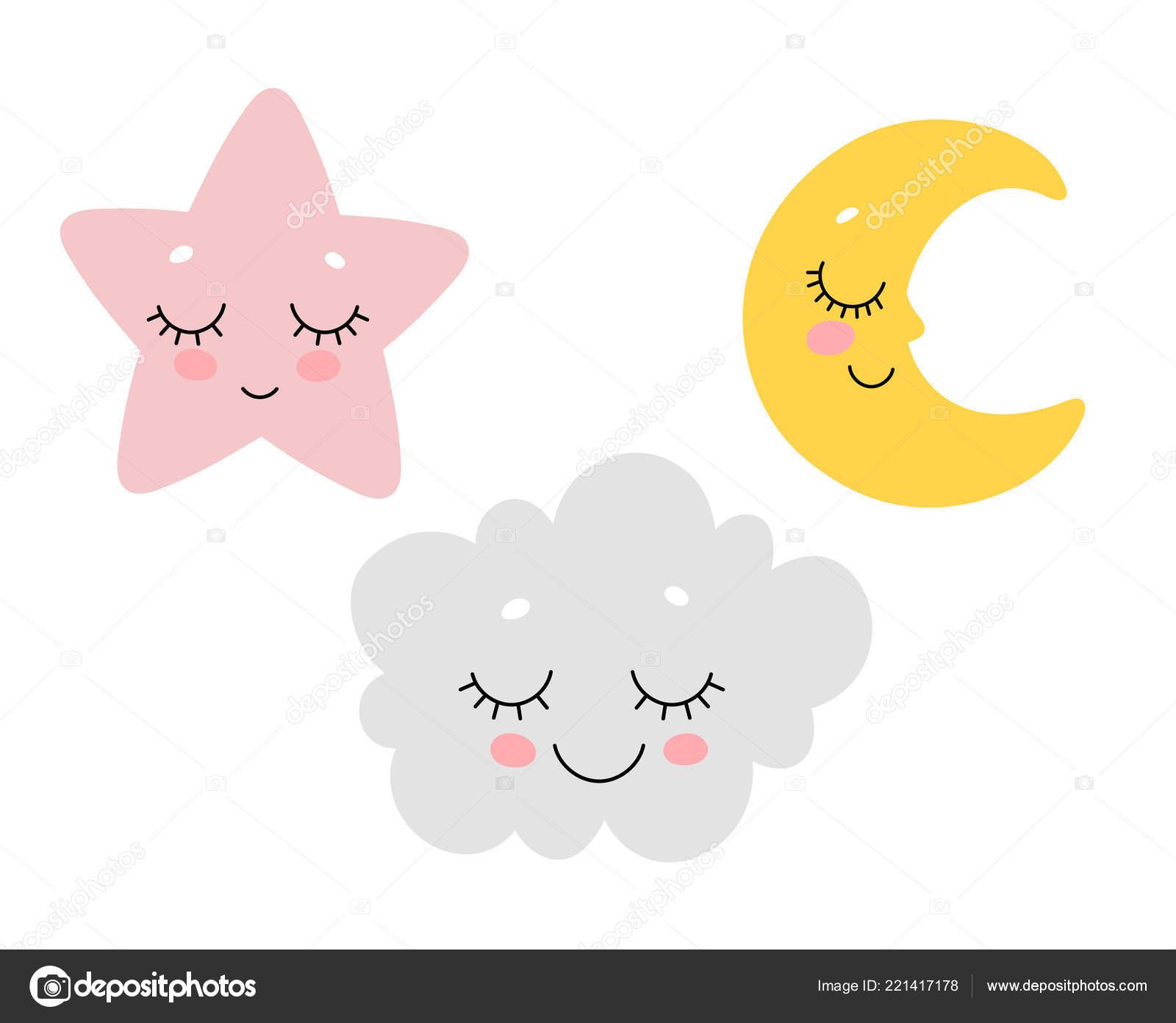 Imprimir Berçário Bonito Dormir Nuvem Lua Estrela Projeto Vetores
