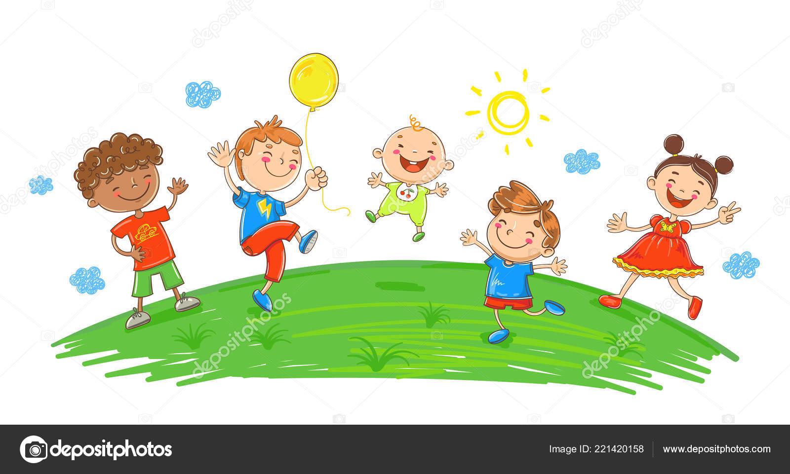 happy cartoon kids playing jumping  u2014 stock vector