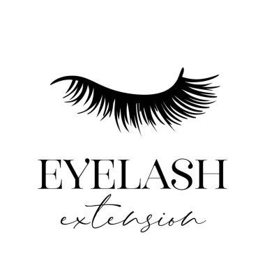 Eyelash extension of closed eye isolated on white background