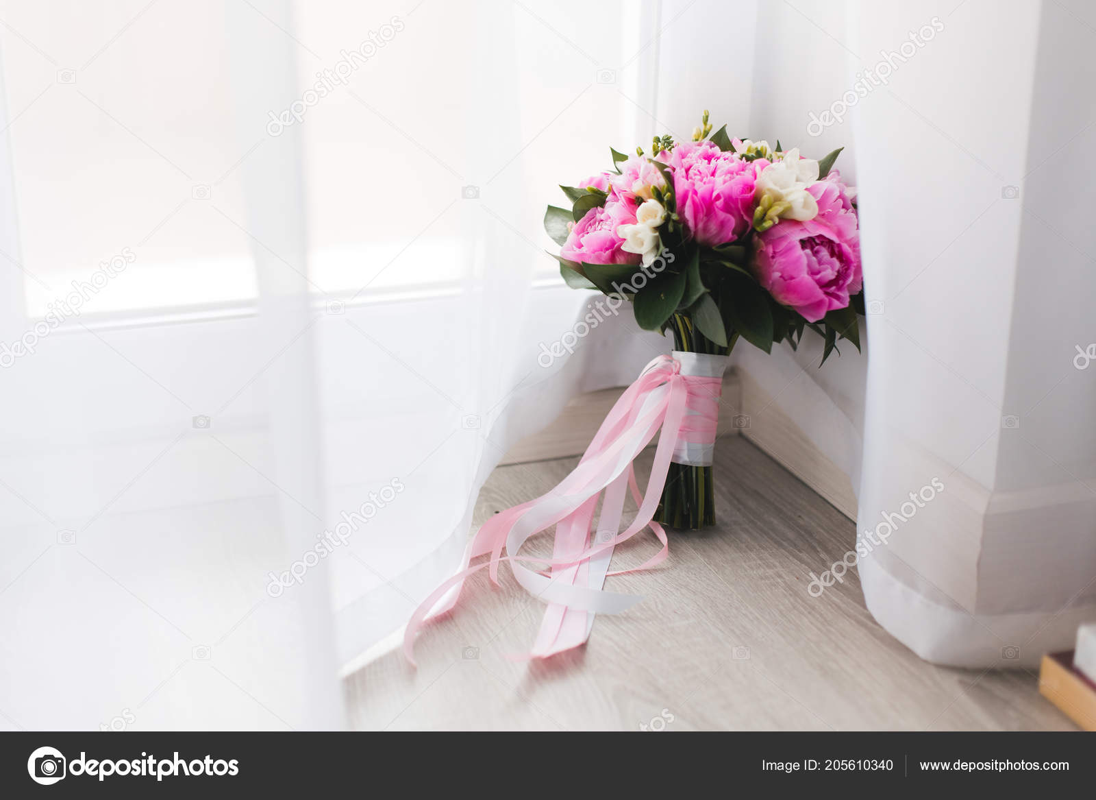 Beautiful Pink Peonies Bouquet White Pink Satin Ribbons Stock Photo C Mat Mary 205610340