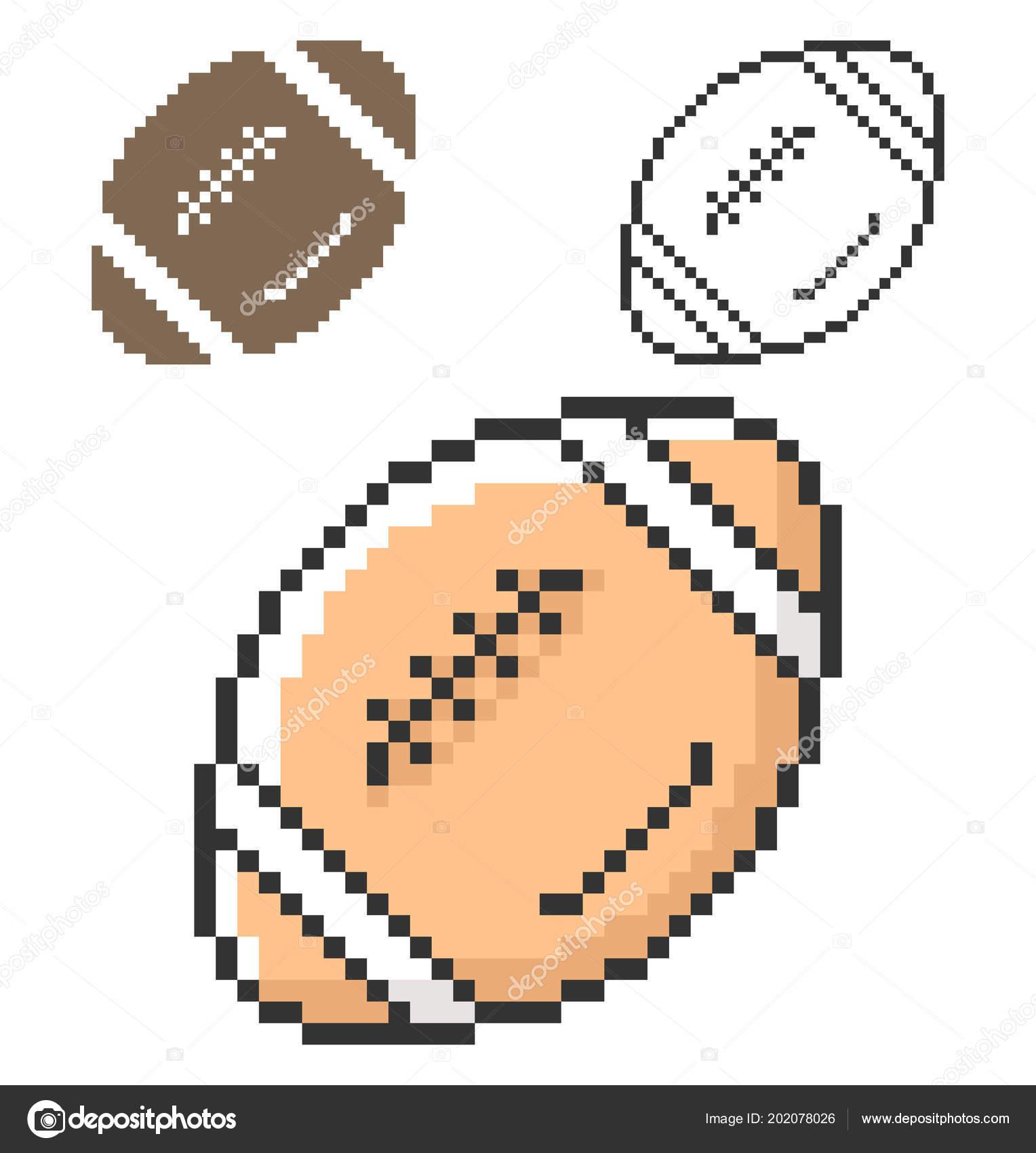 Pixel Icon American Football Three Variants Fully Editable