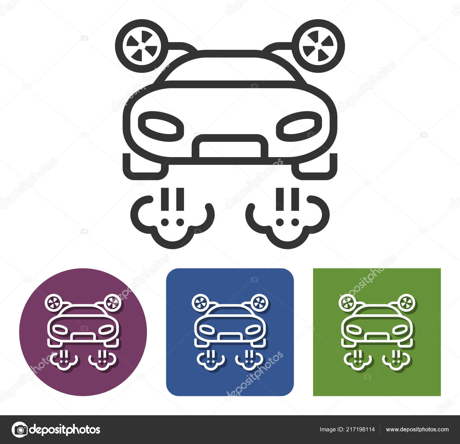 Line Icon Flying Car Different Variants Stock Vector C Vectol 217198114