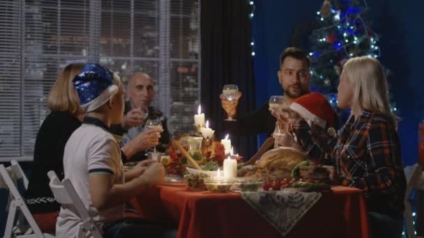 Reunited family having Christmas holiday celebration