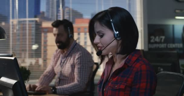 Woman working at his desk in a call center