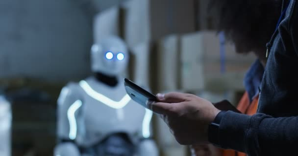 People talking while robot working the background