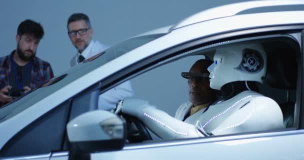 Scientist testing car driving robot
