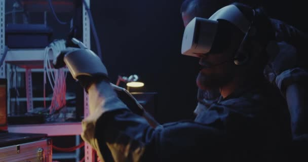 Soldier using VR headset and gloves