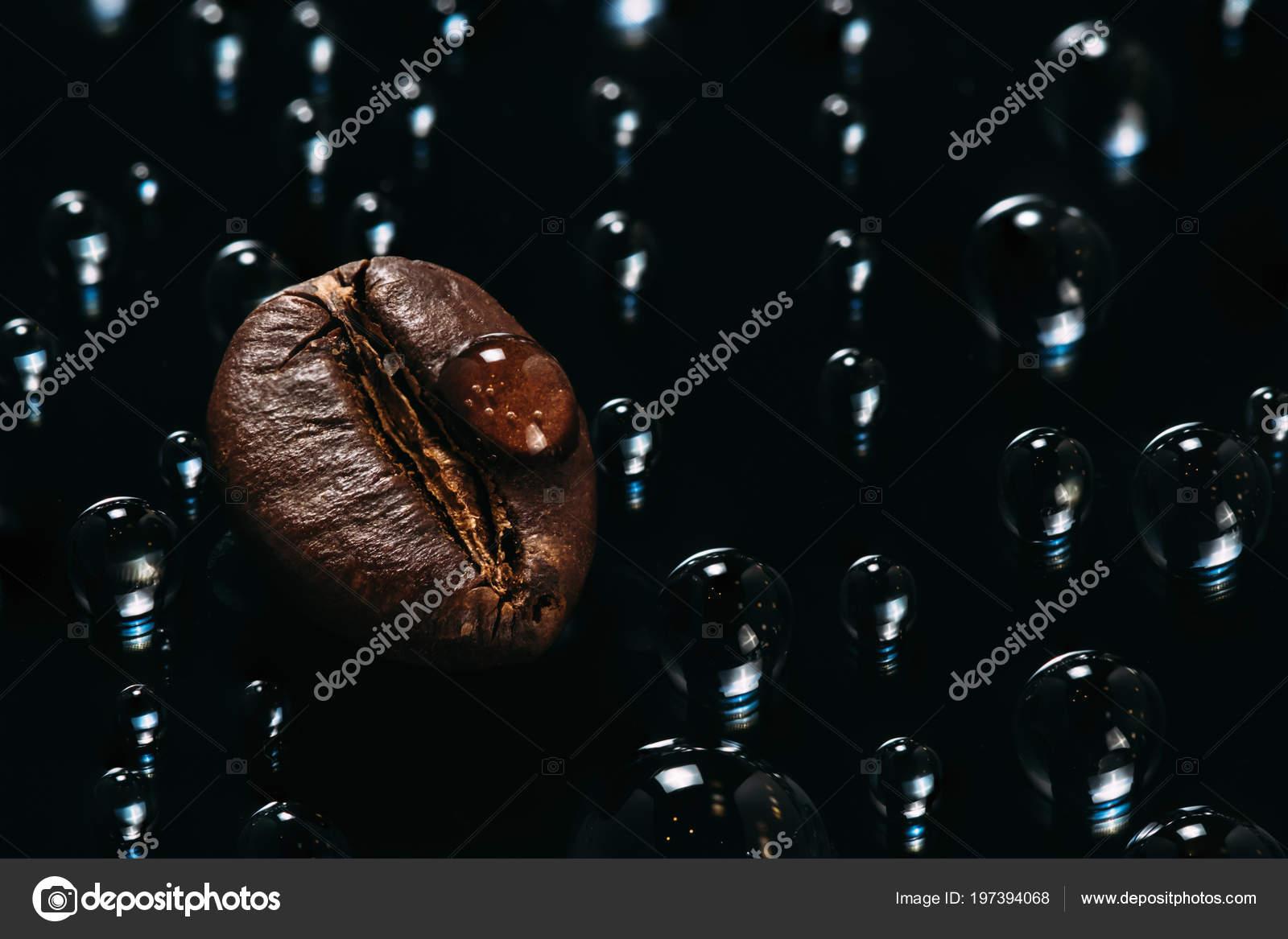 Shiny Fresh Roasted Coffee Macro Beans Glass Dark Background