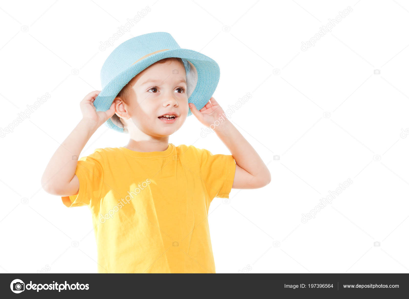 Little Caucasian Boy Hat Dancing Isolated White Little Cute Cheerful — Stock  Photo 20f397c39750