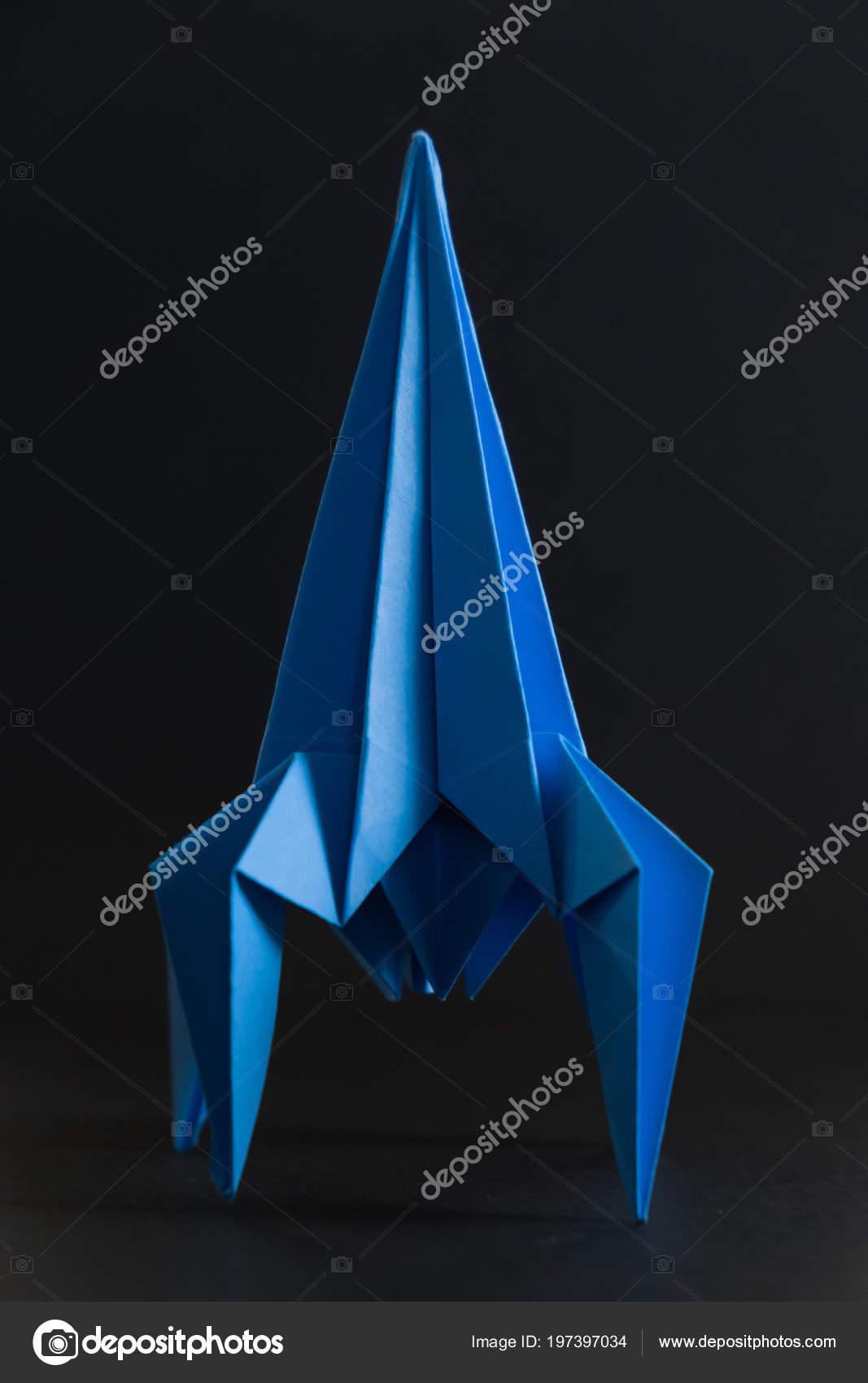 Paper Homemade Origami Rocket Craft Work Children Stock Photo