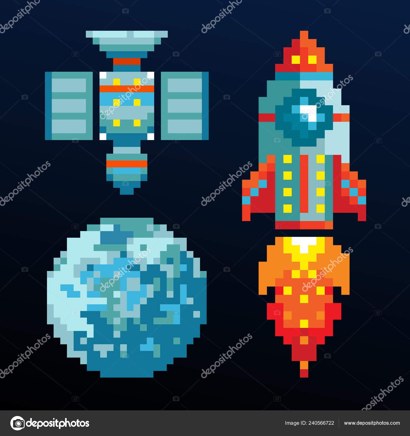 Pixel Art Ordinateur Espace Objets Jeu Fusée Jeux Vidéo Bits