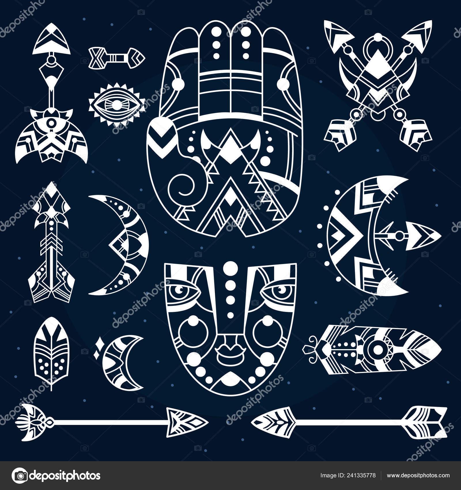 Boho Symbole Wektor Ilustracja Czeskie Przedmioty