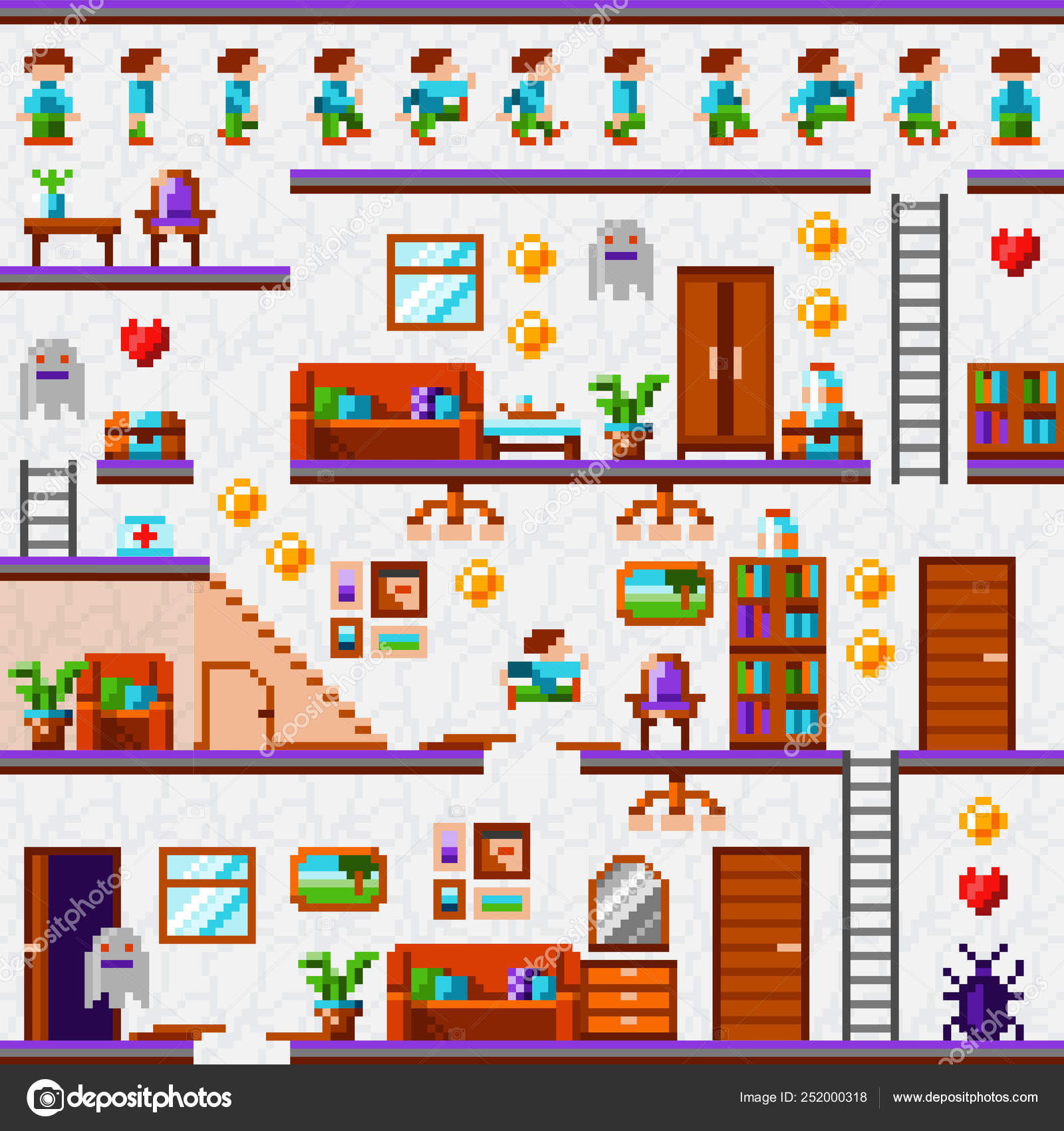 Pixel Game Interface Vintage Pixel Video Game Home Level