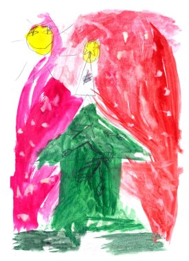 christmas night in forest. Cute drawing in Childs stile. Dream Home. Card