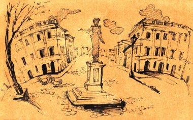 Monument to Duc de Richelieu in Odessa Odessa. Digital ink illustration. Mayor square