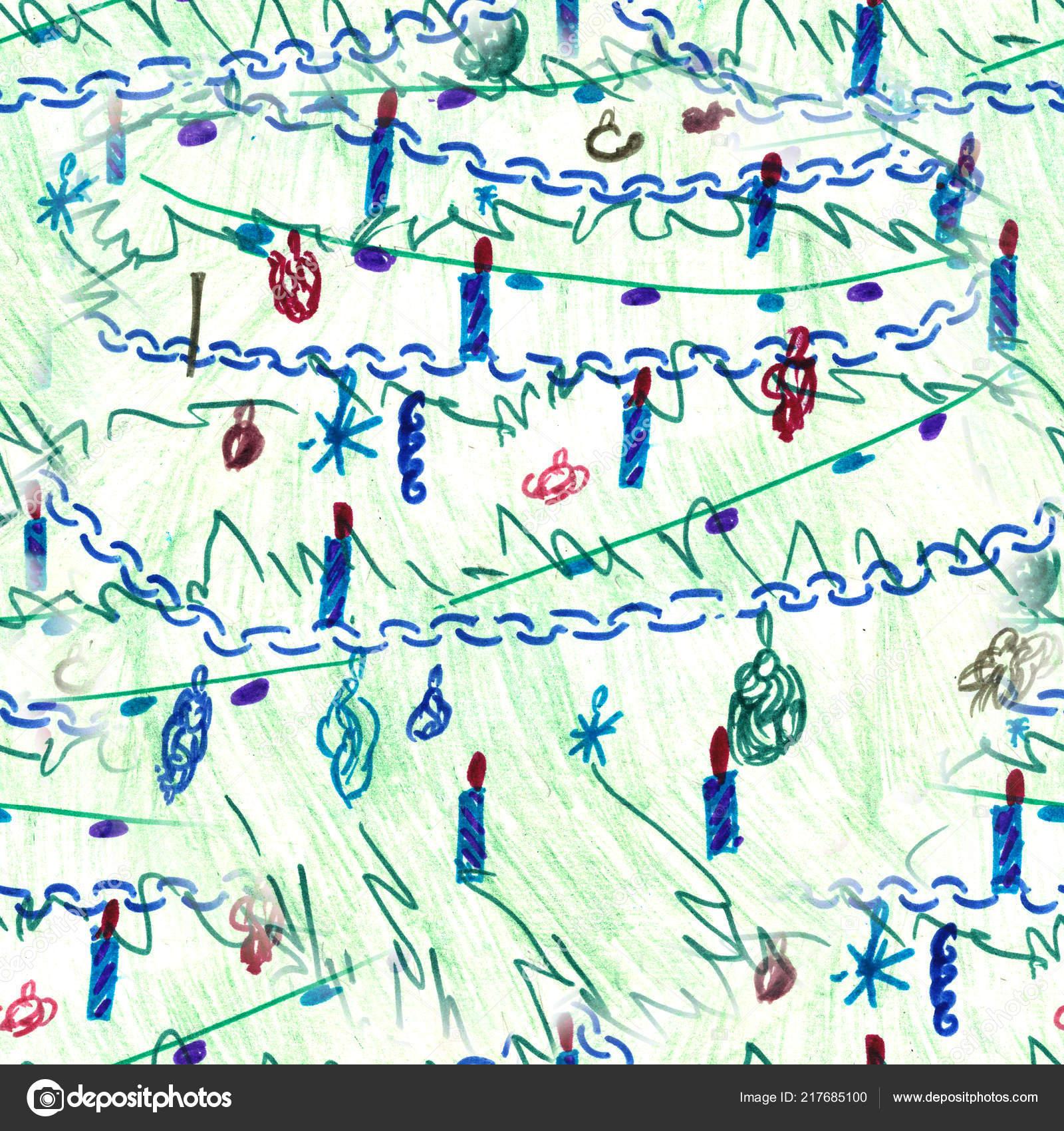 Nahtlose Hintergrund Weihnachtsbaum Bunte Zeichnung Weihnachtsbaum