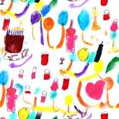 nahtlose Muster, Cartoon niedlichen handgezeichneten Urlaub nahtlose Muster. Farbe detailliert, mit vielen Objekten Hintergrund. endlose lustige Illustration mit Geburtstagssymbolen und -gegenständen