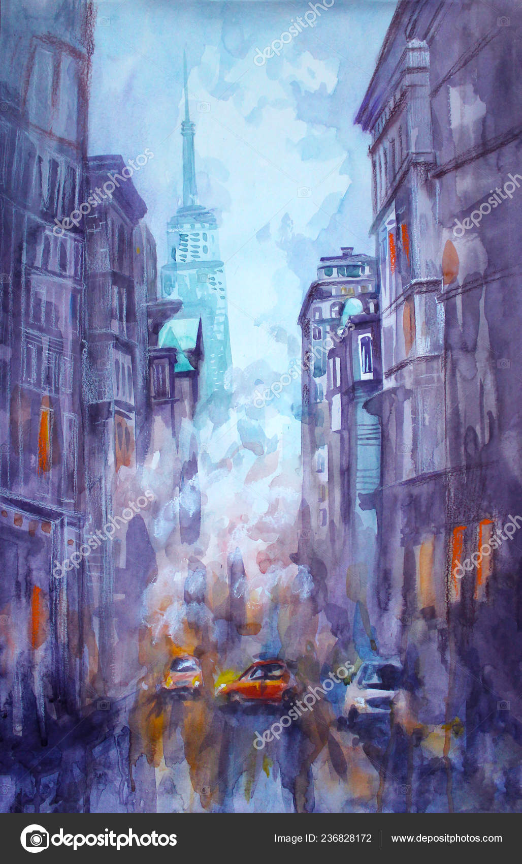 Watercolor And Pastel Painting Of Street View Of New York