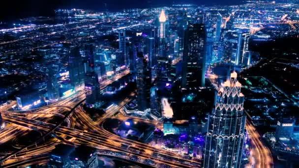 Amazing night dubai downtown skyline. Colorful sunset. Panorama of business area with tallest skyscraper of the world. Dubai, United Arab Emirates