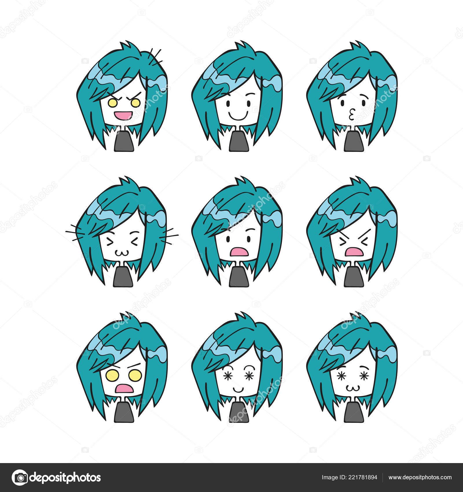 Gente Pequeña Dibujos Animados Emociones Smileys Objetos Vectores