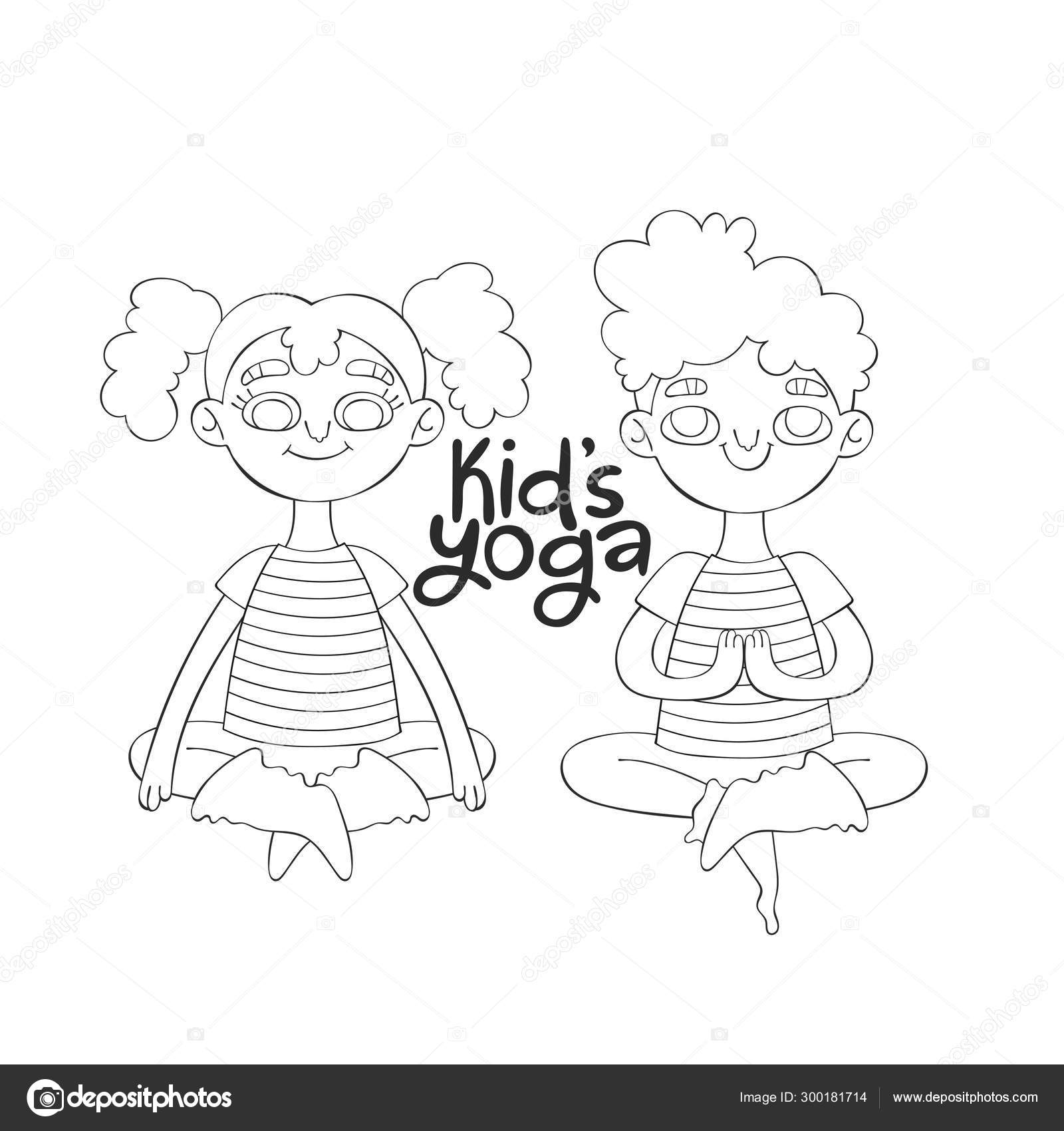 Kid Yoga Boy Girl Lotus Position Lettering Cartoon Isolated Vector Stock Vector C Ewanew 300181714