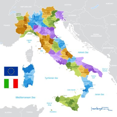 Vector Political Map of Italy with full Region and Provinces Boundaries, completed with Italian and EU flags.
