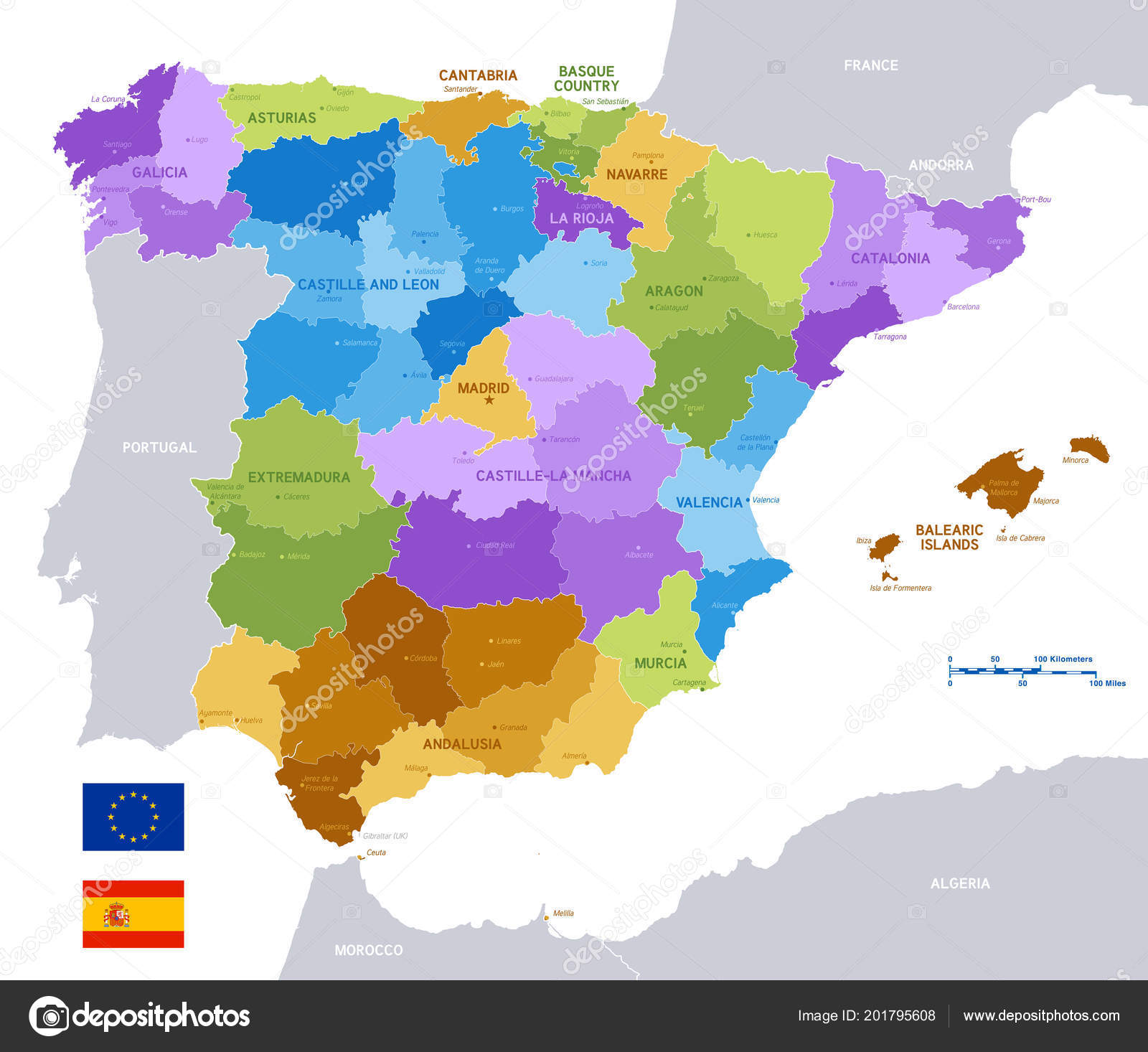 Full Map Of Spain.Vector Political Map Spain Full Region Provinces Boundaries