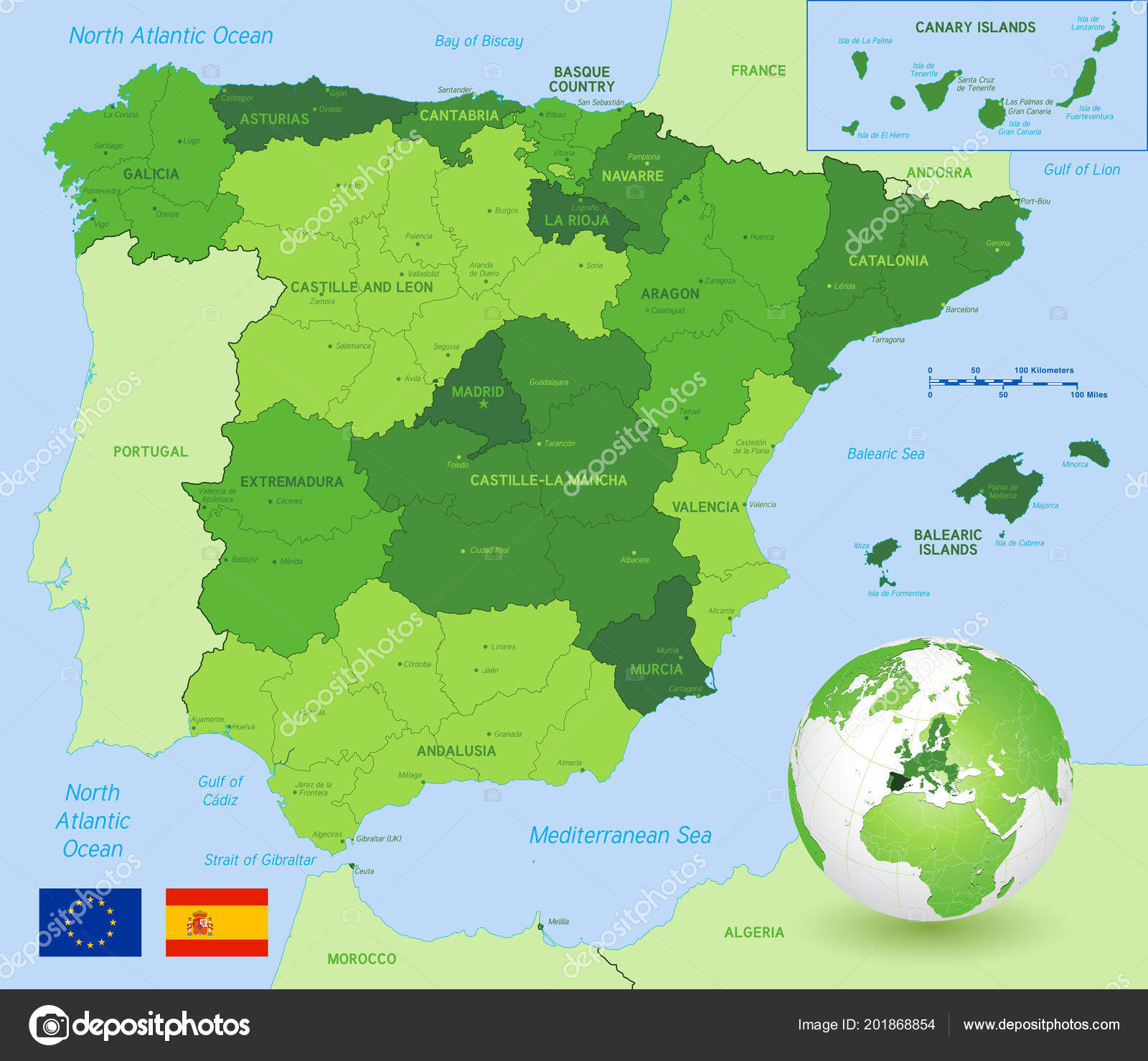 Map Of Spain And Europe.Vector Political Map Spain Full Region Provinces Boundaries