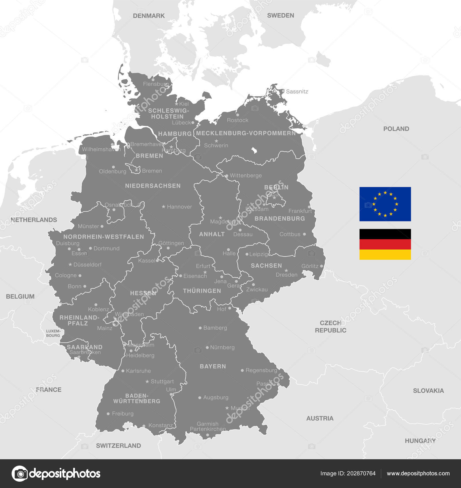 Map Of Germany With Neighbouring Countries.Grey Vector Map Germany Administrative Borders City Region Names