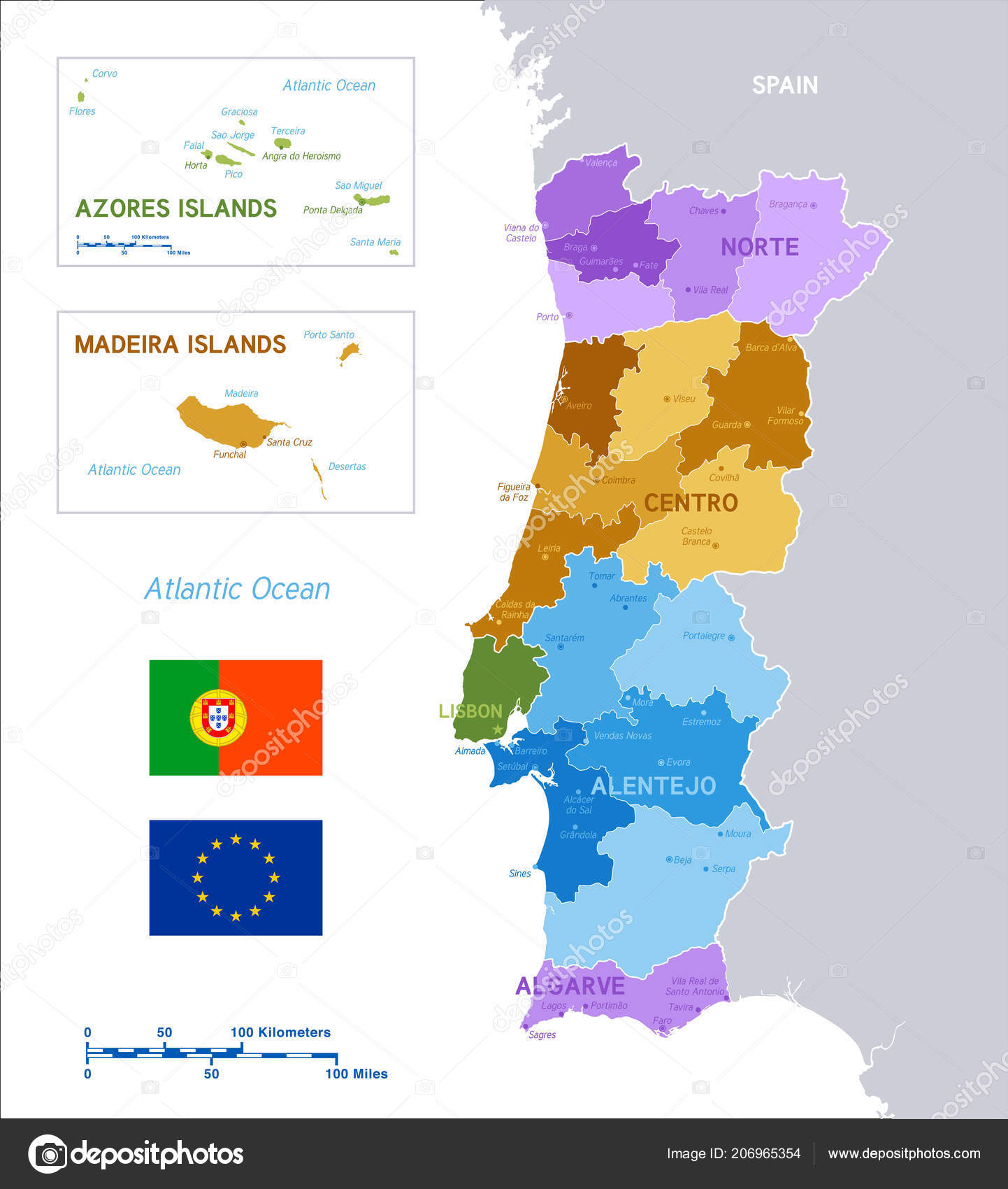 Colorful Political Vector Map Portugal Main Islands Flags Portugal