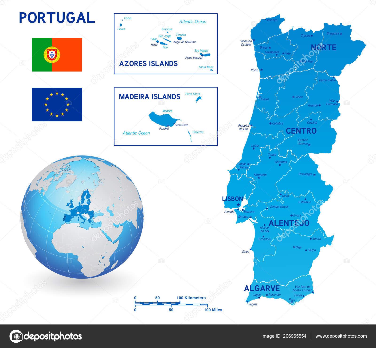 Islas De Portugal Mapa.Mapa Azul Vector Politico Portugal Las Islas Principales Con