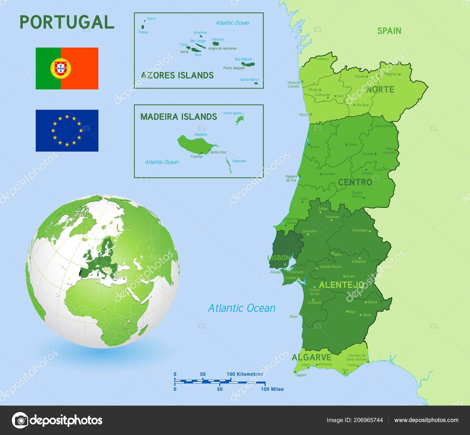 Green Political Vector Map Portugal Main Islands Flags Portugal