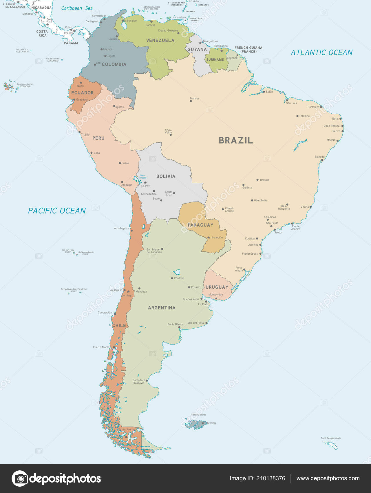 Vector Map South America Continent Countries Capitals Main Cities ...