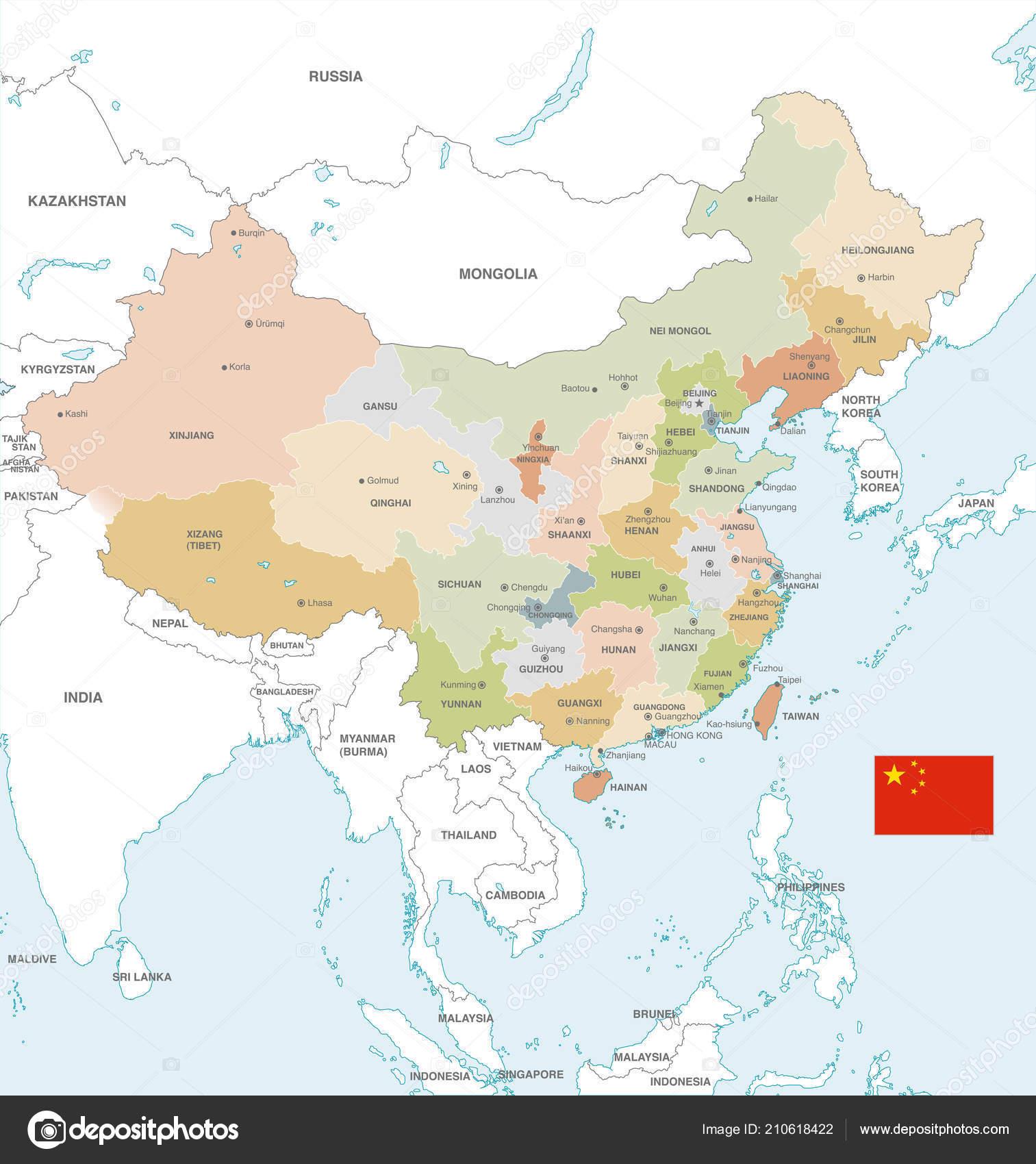 Map Of China Region.Vector Map China Administrative Borders City Region Names