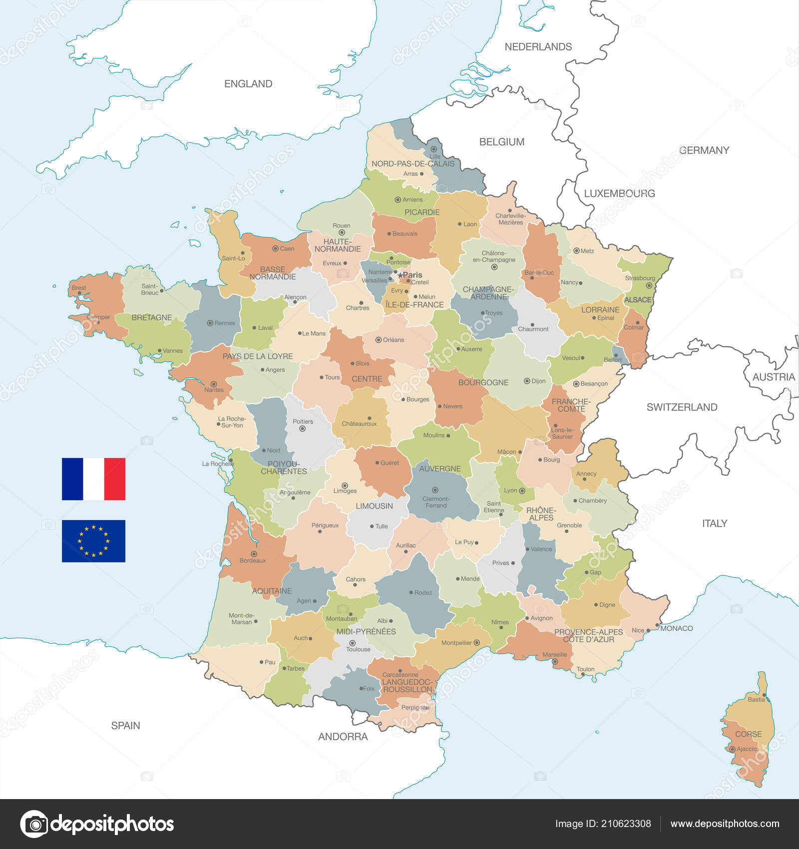 The Map Of France With The City.Vector Map France Administrative Borders City Region Names