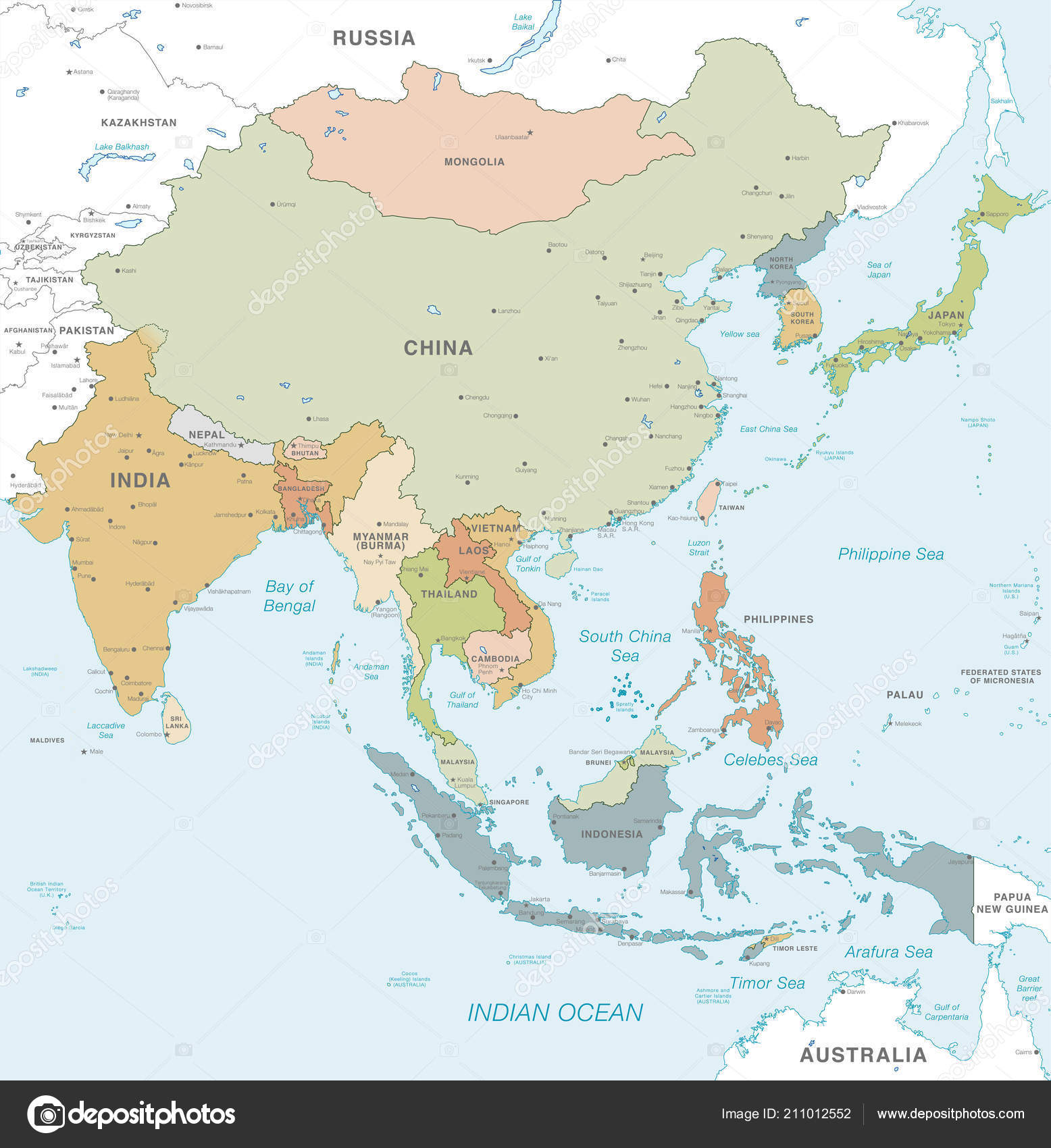 A Map Of East Asia.Vector Map East Asia Continent Countries Capitals Main Cities Seas