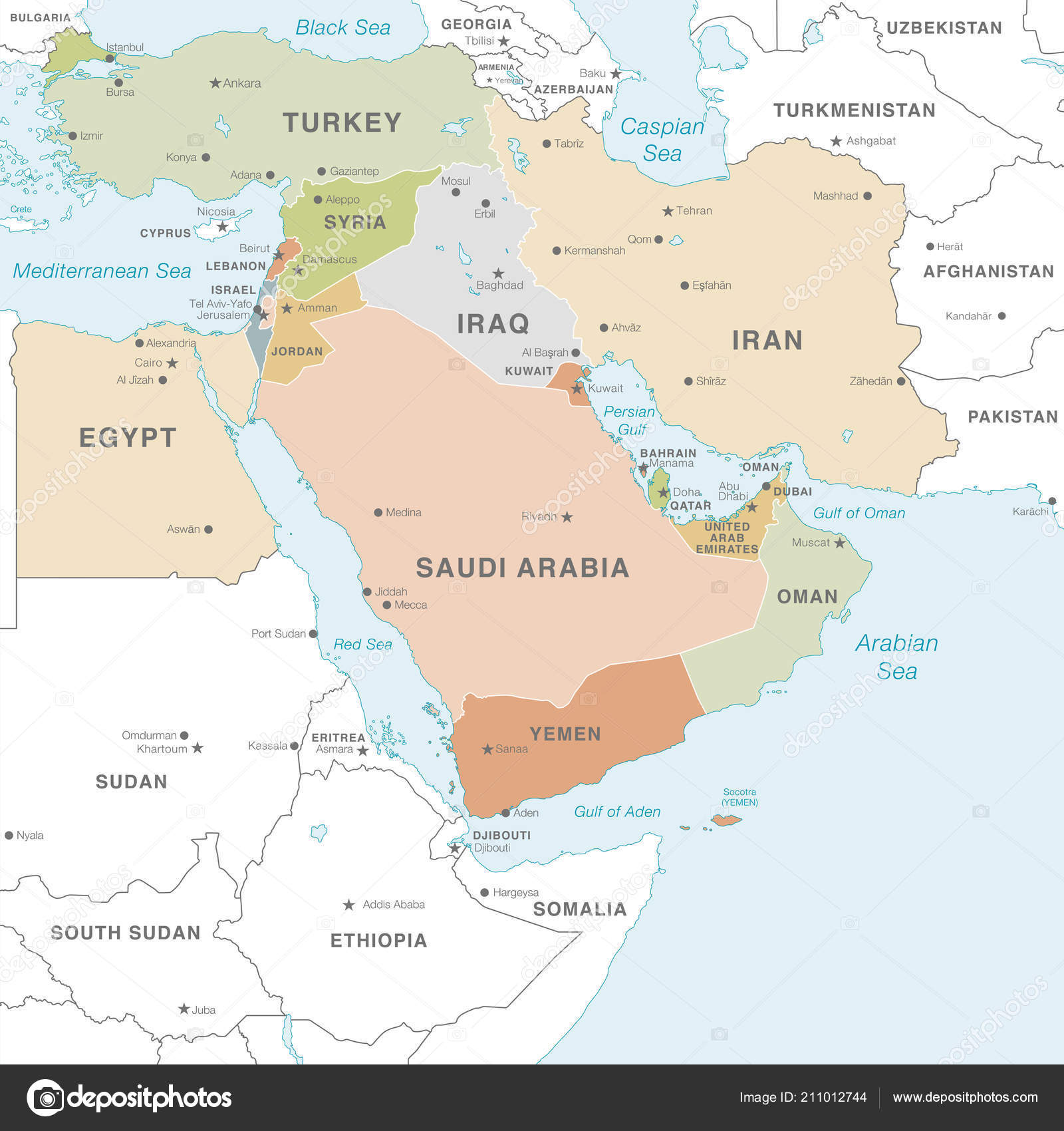 Middle east maps with capitals | High Detail Map Middle East