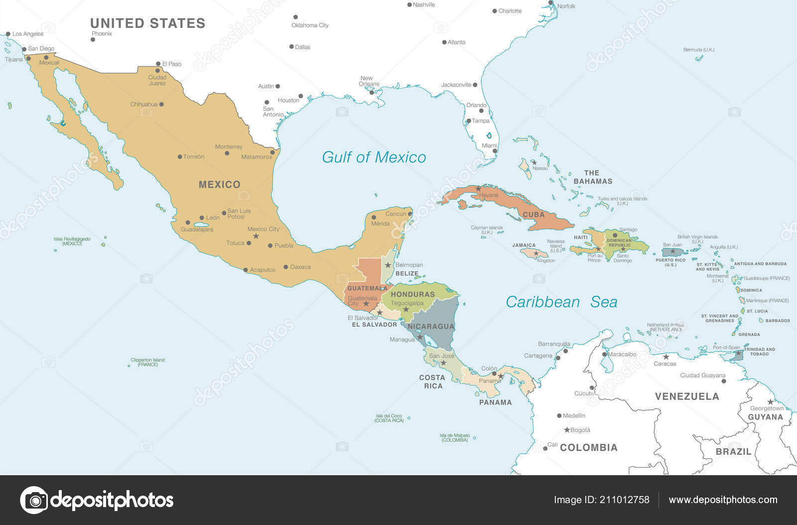 Vector Map Central America Countries Capitals Main Cities ...