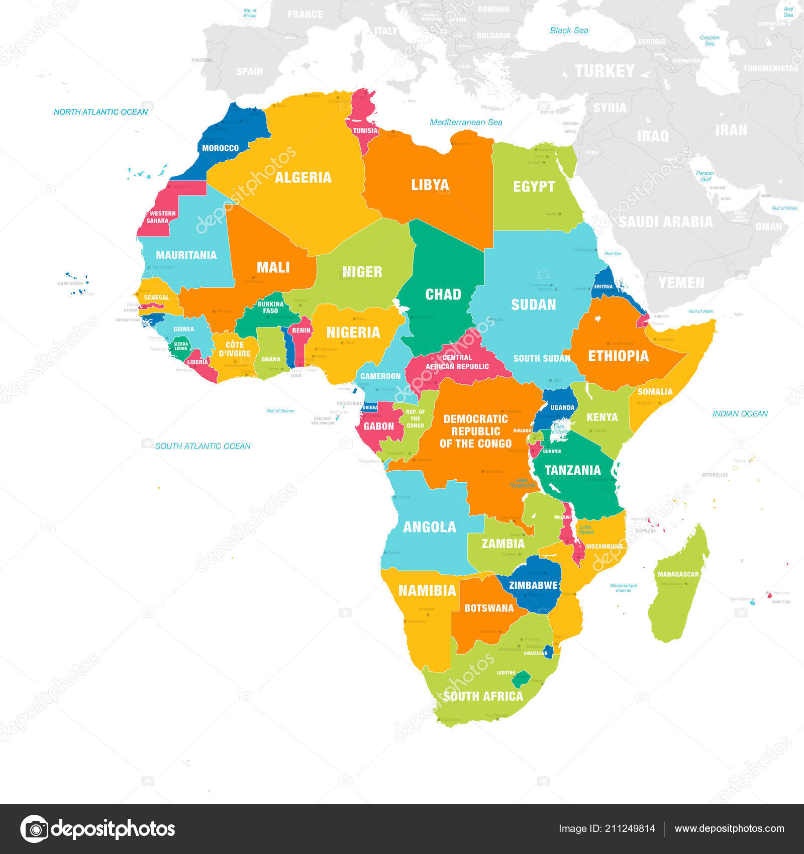 Vector Map Africa Continent Countries Capitals Main Cities Seas