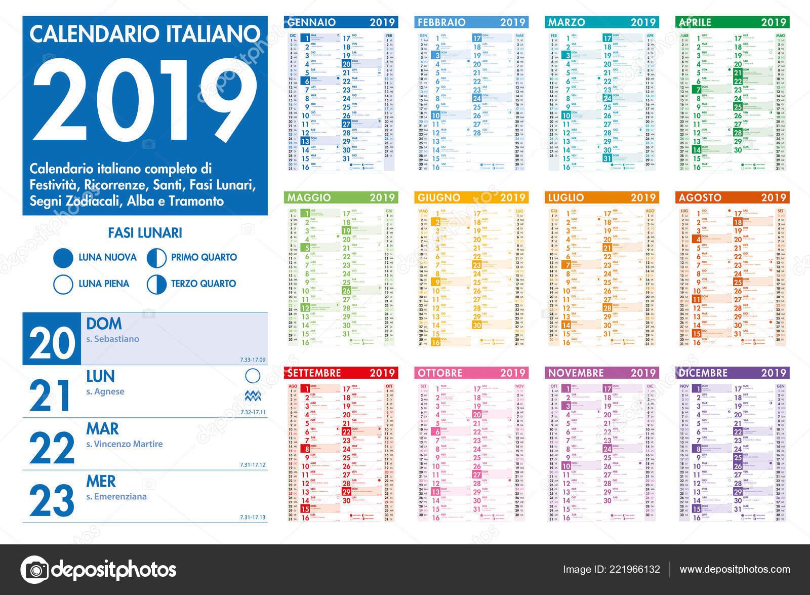 Calendario Con Santos.Colorido Calendario Mensual Italiano Vector Con Todos Vacaciones