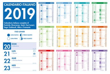 Italian Vector Colorful Monthly Calendar with All Italian Holidays, Saints, Celebrations, Lunar Phases, Previous and Next Mont