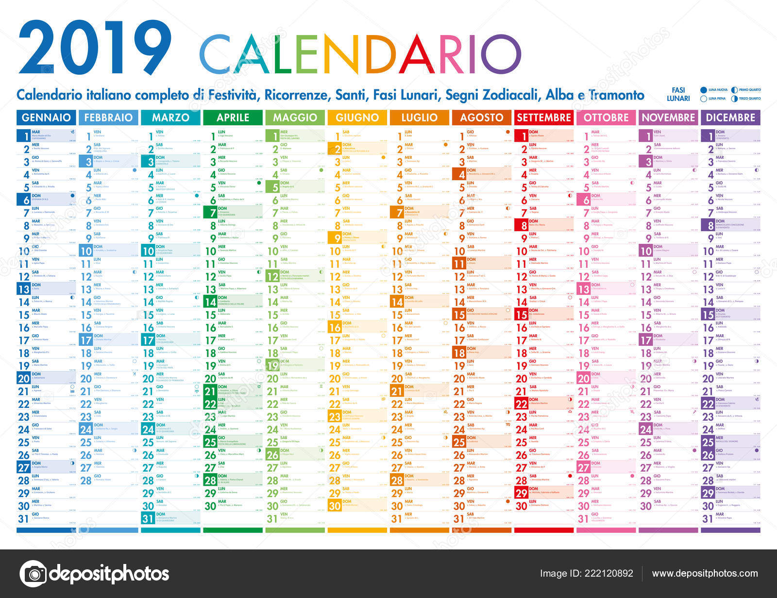 Calendario E Santi.Italiano Vector Colorful Mensile Calendario Muro Poster Con