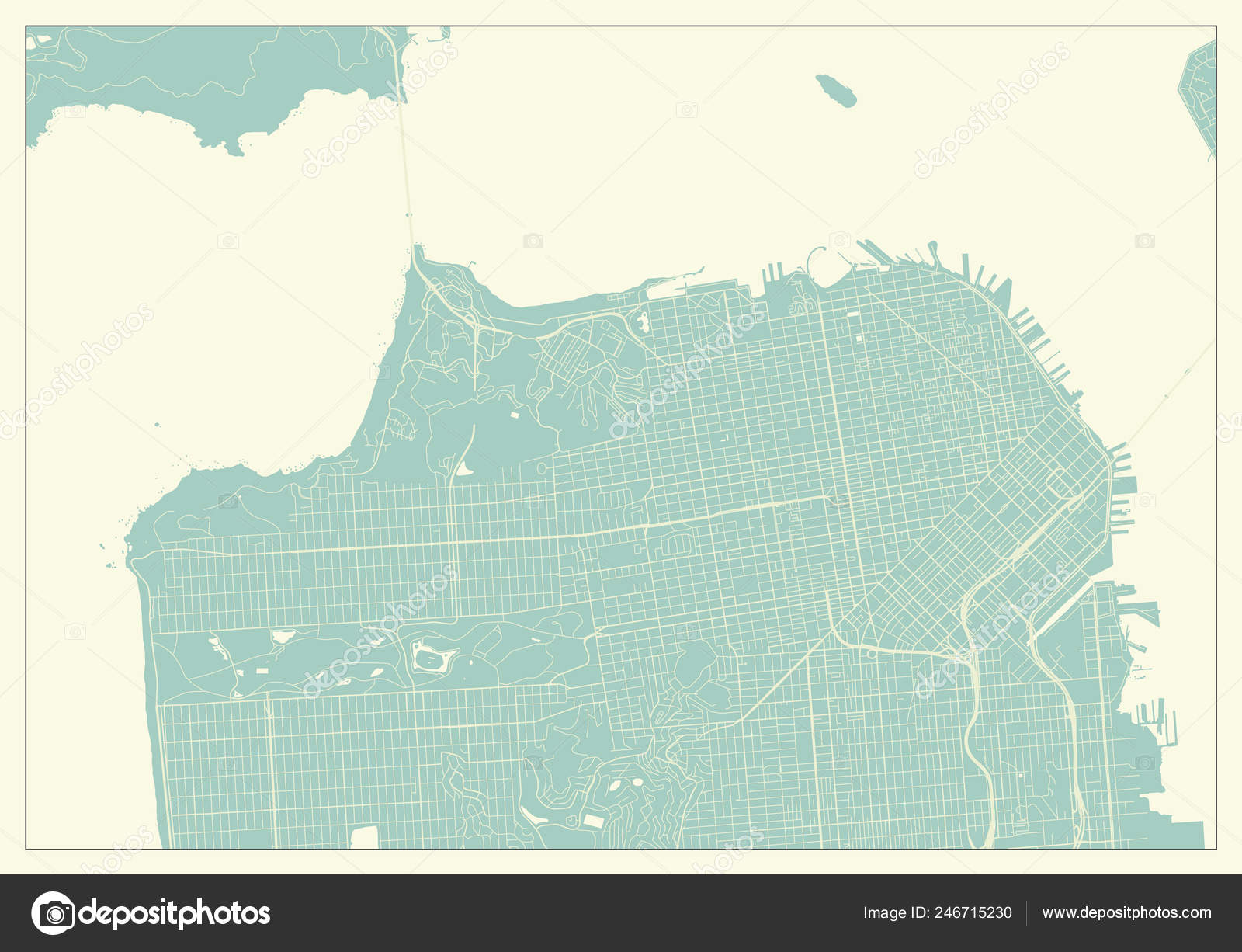 San Francisco Usa Map Retro Style — Stock Vector © pingebat ...