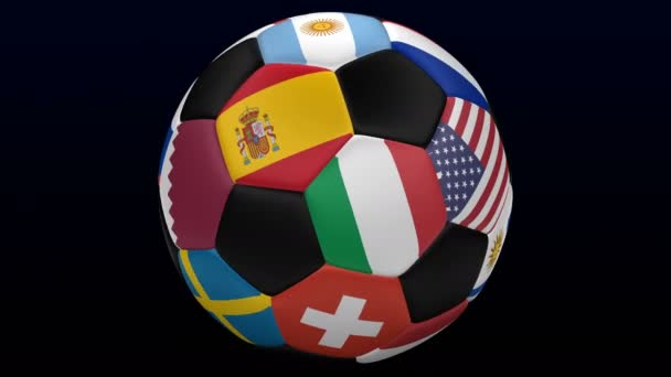 Soccer ball with flags turn around on black and dark blue background. Loopable. Luma matte. 3D rendering.