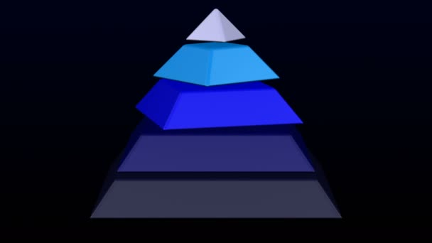 Hierarchy of needs as pyramid. Pyramid turn around on black and dark blue background. Luma matte. Loopable. 3D rendering.